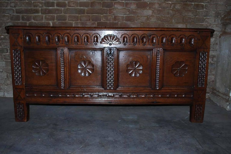 18th century Dutch chest made from Oakwood. This chest is hand-carved and has an extra, small storing unit on the inside. Original wrought iron hardware. Originates Netherlands, dating circa 1780.