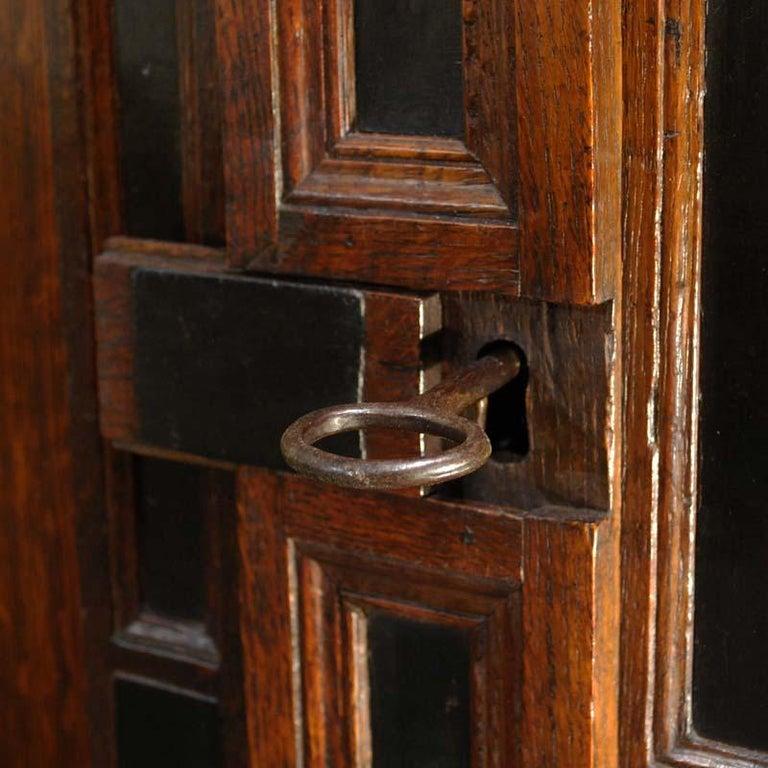 17th Century Dutch Renaissance Oak and Ebony Two-Door Cabinet For Sale 3