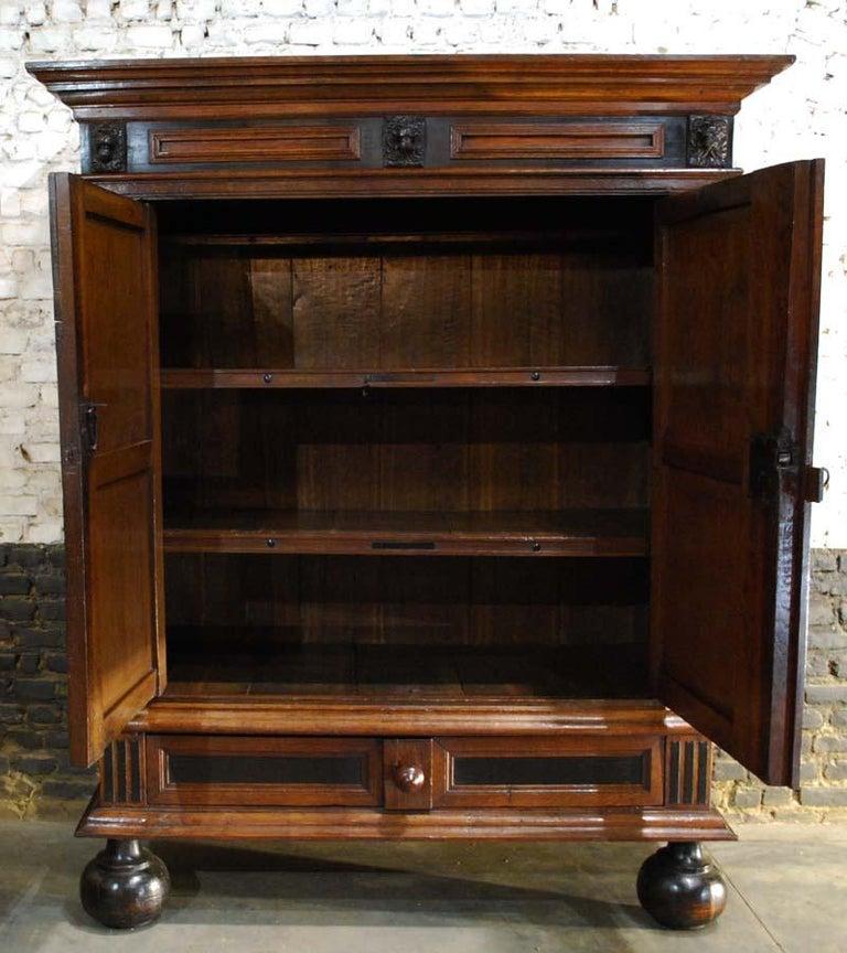 17th Century Dutch Renaissance Oak and Ebony Two-Door Cabinet For Sale 4
