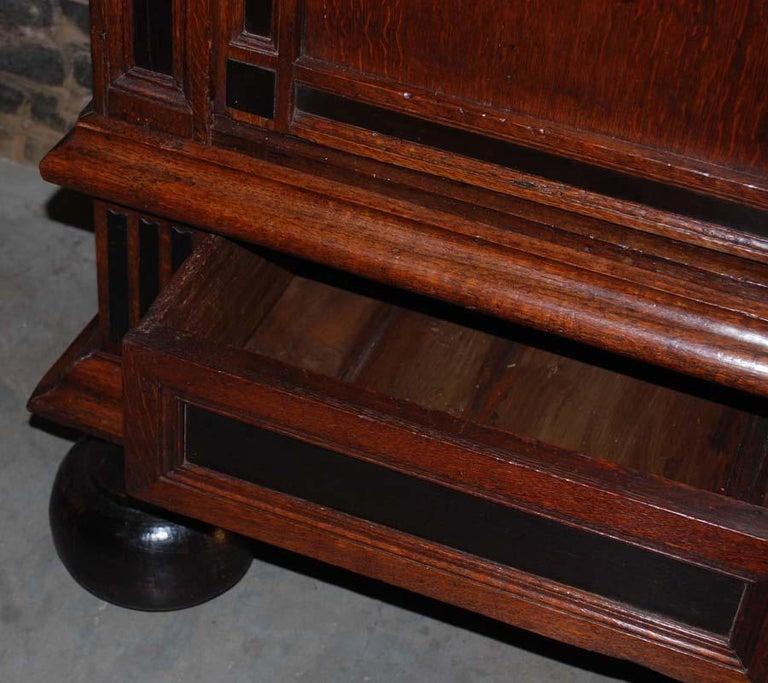 17th Century Dutch Renaissance Oak and Ebony Two-Door Cabinet For Sale 7