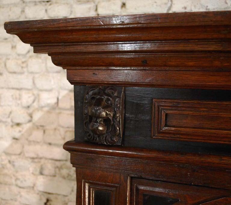 17th Century Dutch Renaissance Oak and Ebony Two-Door Cabinet For Sale 8