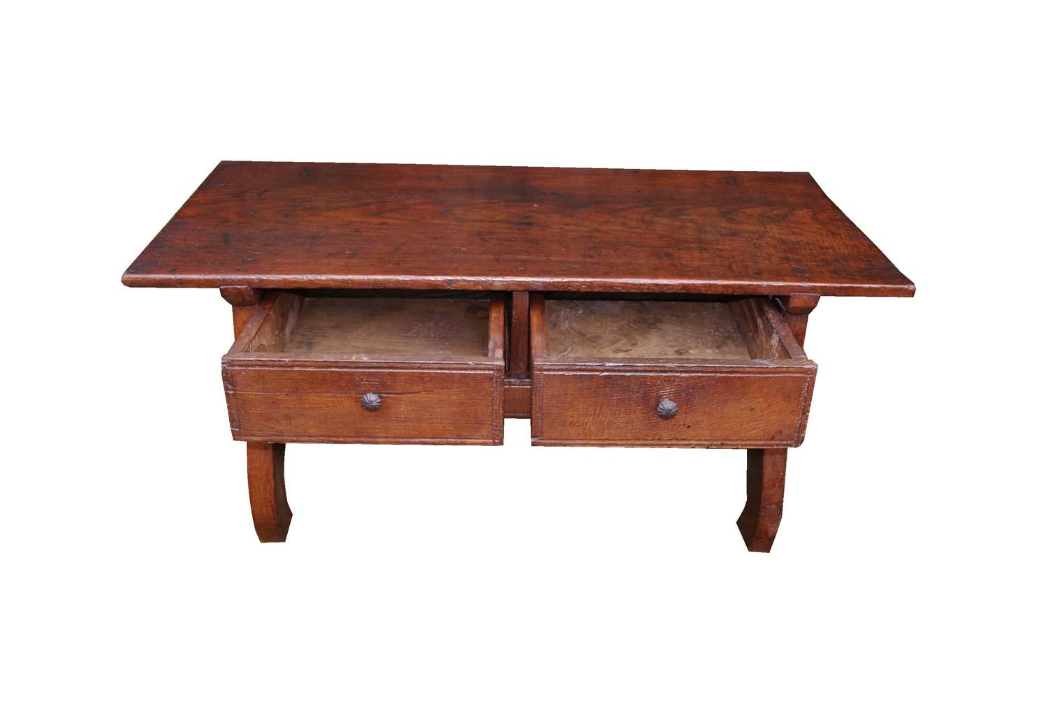 19th century walnut wooden low table or coffee table made in spain at 1stdibs Low wooden coffee table