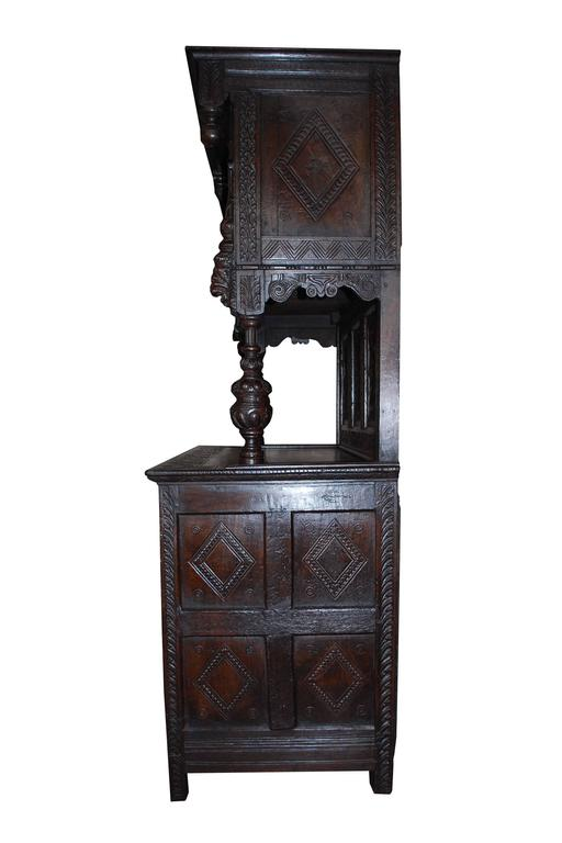 Early 19th Century English Carved Oakwood Tudor Cabinet