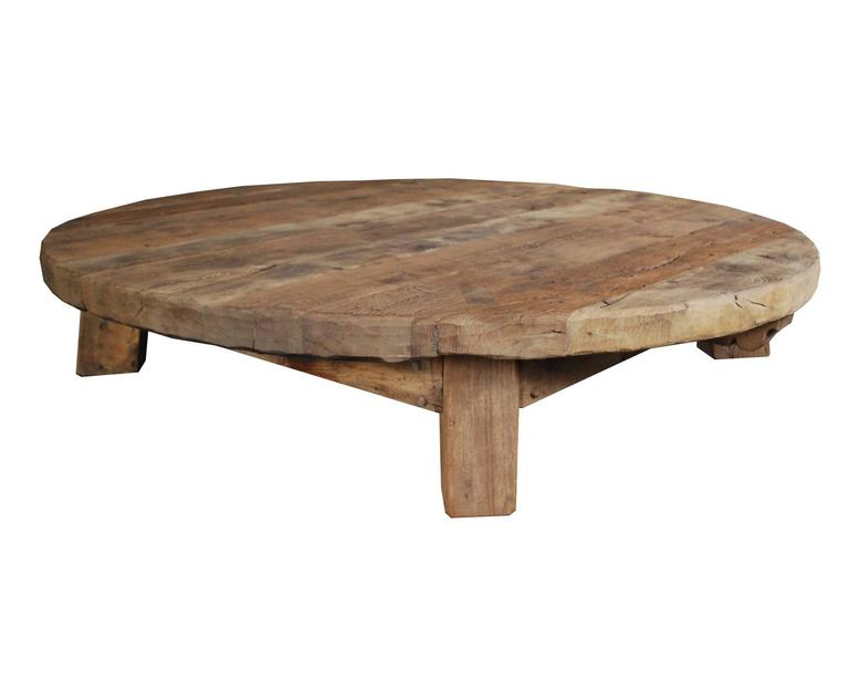 Dutch Extremely Large natural cleaned solid oak round Coffee Table / Low Table  For Sale