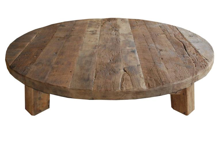 20th Century Extremely Large natural cleaned solid oak round Coffee Table / Low Table  For Sale