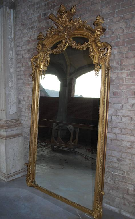 Pair Of 19th Century Large Gold Gilded Mirror At 1stdibs