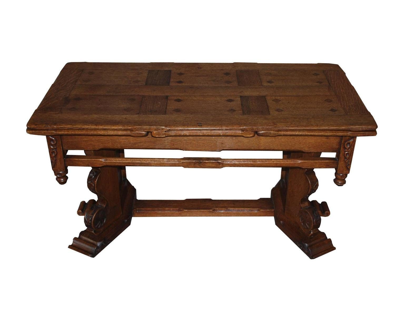 19th century dutch extendable oakwood coffee table for. Black Bedroom Furniture Sets. Home Design Ideas