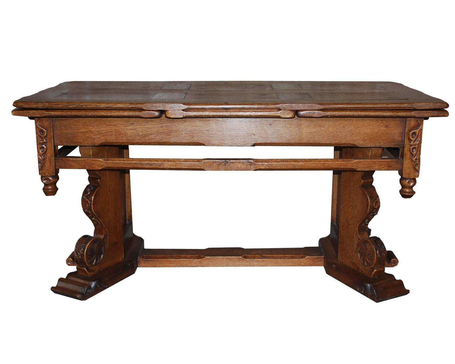 19th Century Dutch Extendable Oakwood Coffee Table For Sale At 1stdibs
