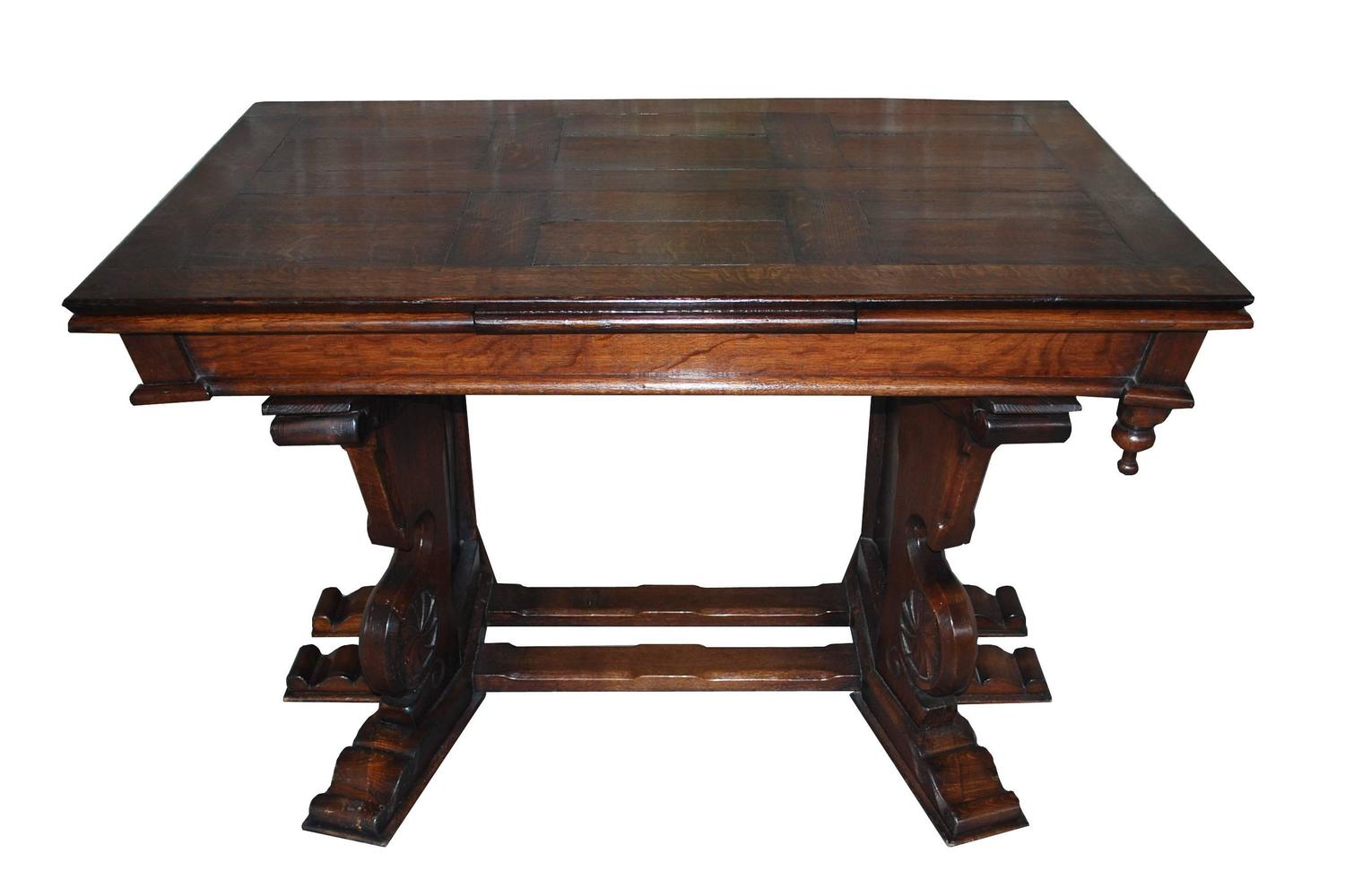 20th Century Dutch Extendable Oakwood Dining Table For