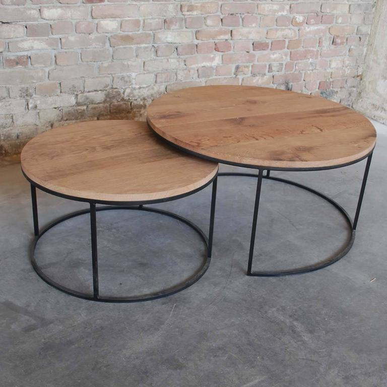 Round Coffee Table Pair: Contemporary Pair Of Coffee Tables Round For Sale At 1stdibs