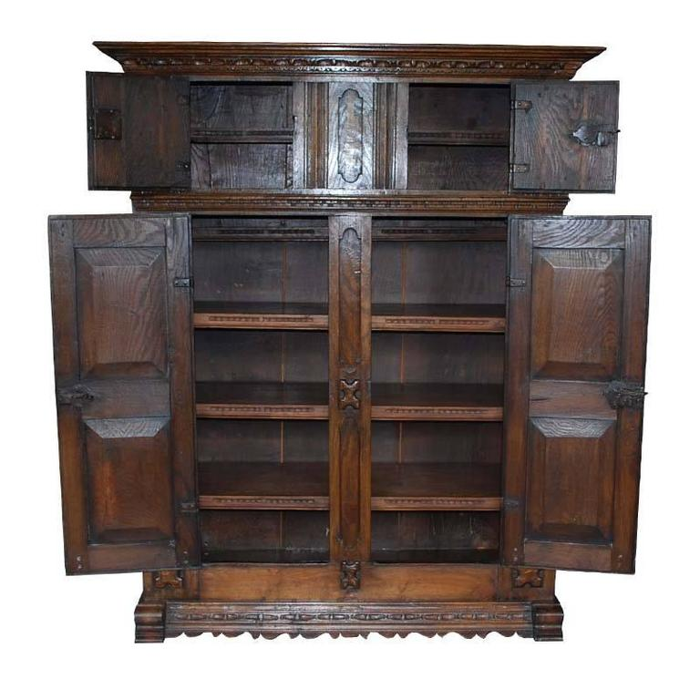 Early 18th century hand carved oakwood cabinet for sale at for Carved kitchen cabinets