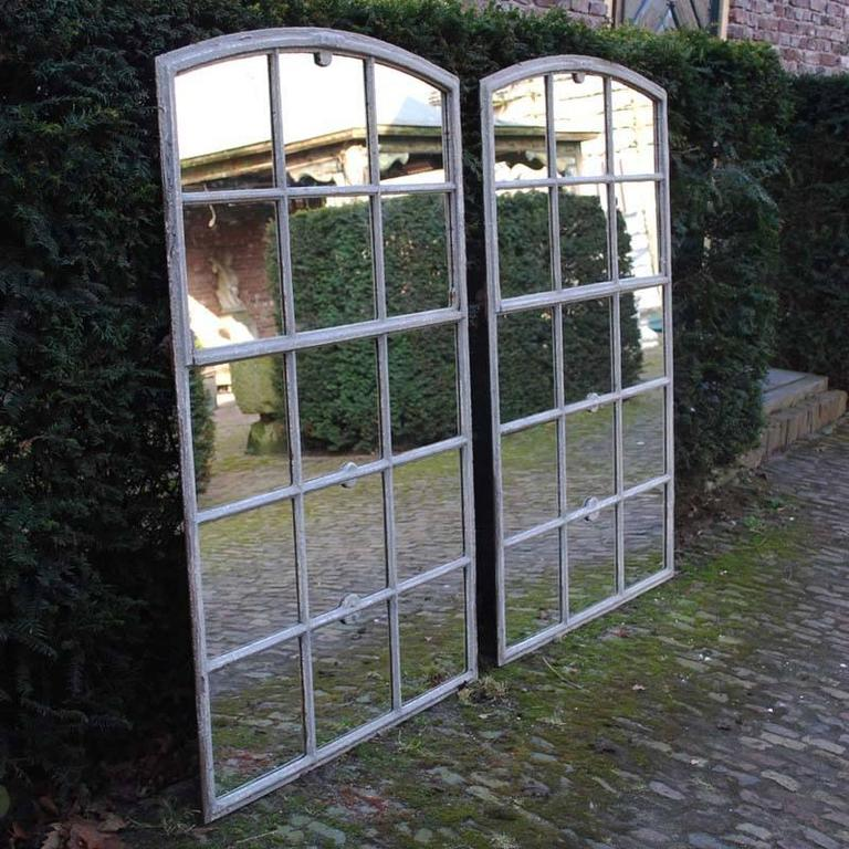 Pair of 19th Century Cast Iron Window Frame as Mirrors or Industrial ...