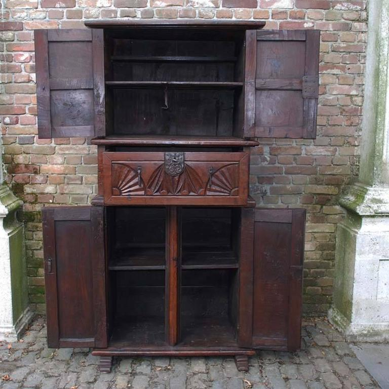Spanish 19th Century Primitive Chestnut Wood Cabinet For Sale