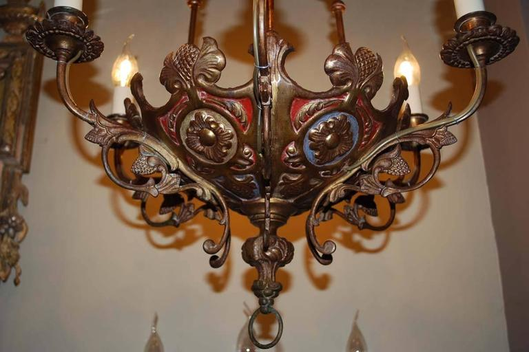 French Pair of 19th Century Brass Chandeliers For Sale