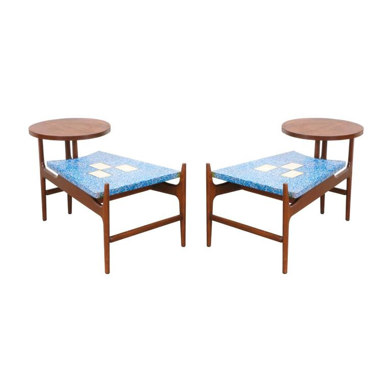 Harvey Probber Rare Blue Terrazo Floating Top Side Tables