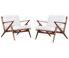 "Rare Poul Jensen ""Z"" Lounge Chairs for Selig"
