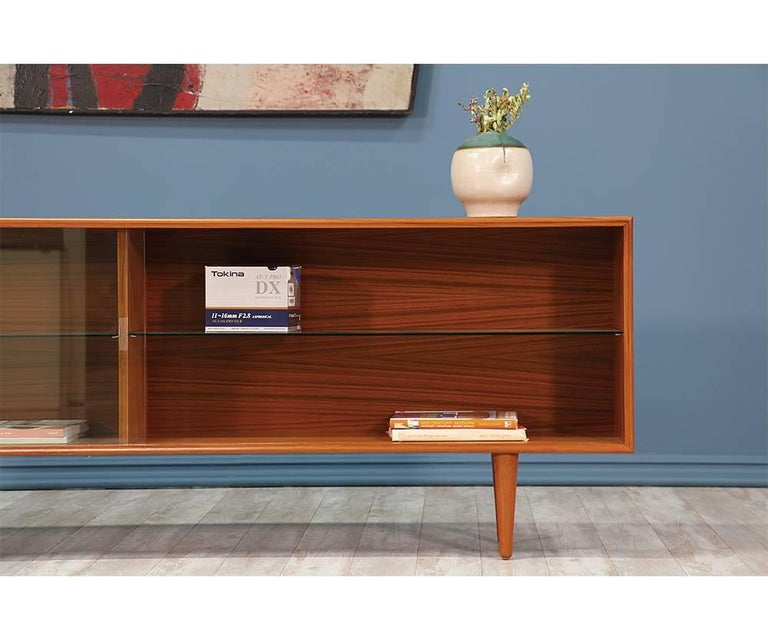Low Bookcases With Doors: Danish Modern Low Profile Teak Bookcase With Glass Doors