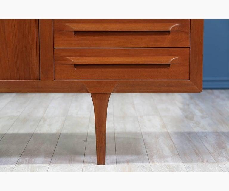 Ib Kofod-Larsen Tambour Door Teak Credenza for Faarup Møbelfabrik In Excellent Condition For Sale In Los Angeles, CA
