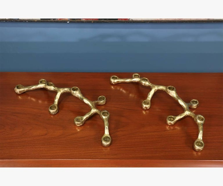 Pair of Mid-Century Modern Brutalist Candelabras In Excellent Condition For Sale In Los Angeles, CA