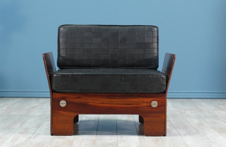 Mid-Century Modern Midcentury Rosewood and Leather Lounge Chair For Sale