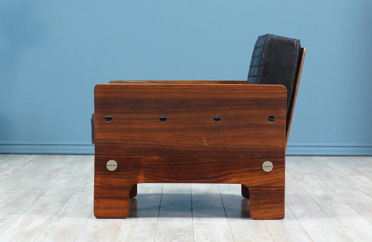 American Midcentury Rosewood and Leather Lounge Chair For Sale