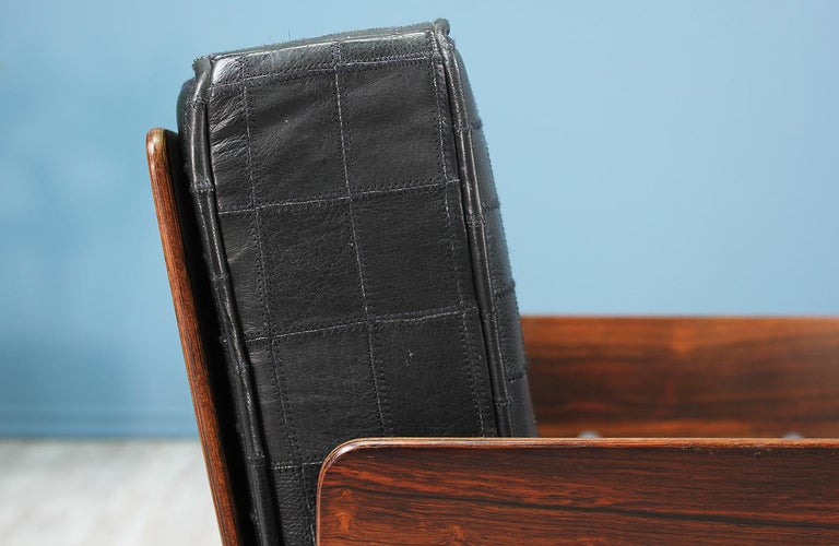 Midcentury Rosewood and Leather Lounge Chair For Sale 3