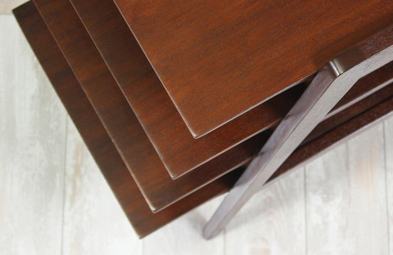 Mahogany Midcentury Tier Side Table For Sale