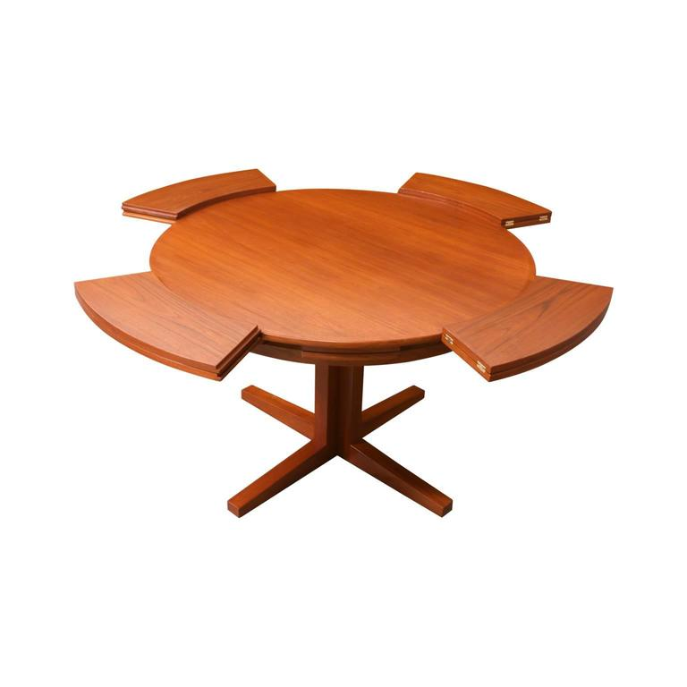 danish modern teak flip flap lotus dining table by dyrlund image