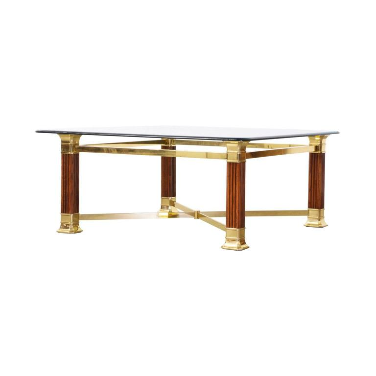 American Mid Century Modern Atomic Age Small Patio Round: Italian Brass Column Style Base Coffee Table With Glass
