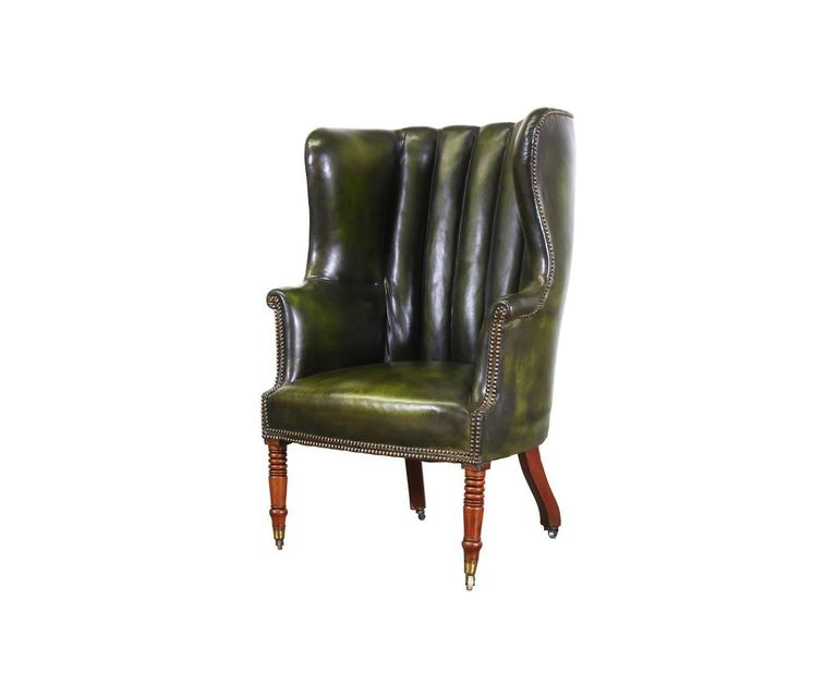 Vintage Green Leather High Back Wing Chair At 1stdibs