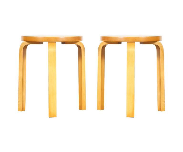 Alvar Aalto Bent Plywood Stools Or Side Tables For Artek