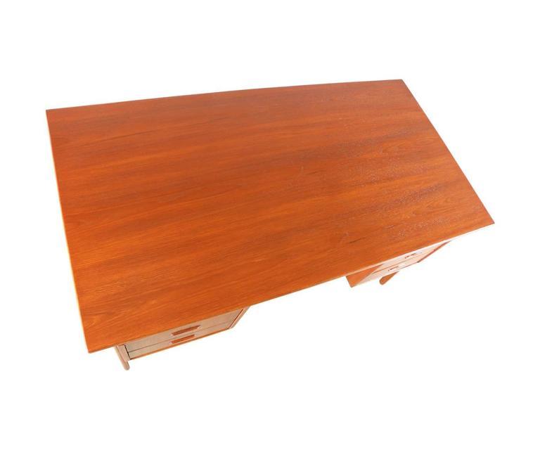 Danish Modern Floating Top Teak Desk With Bookshelf Back