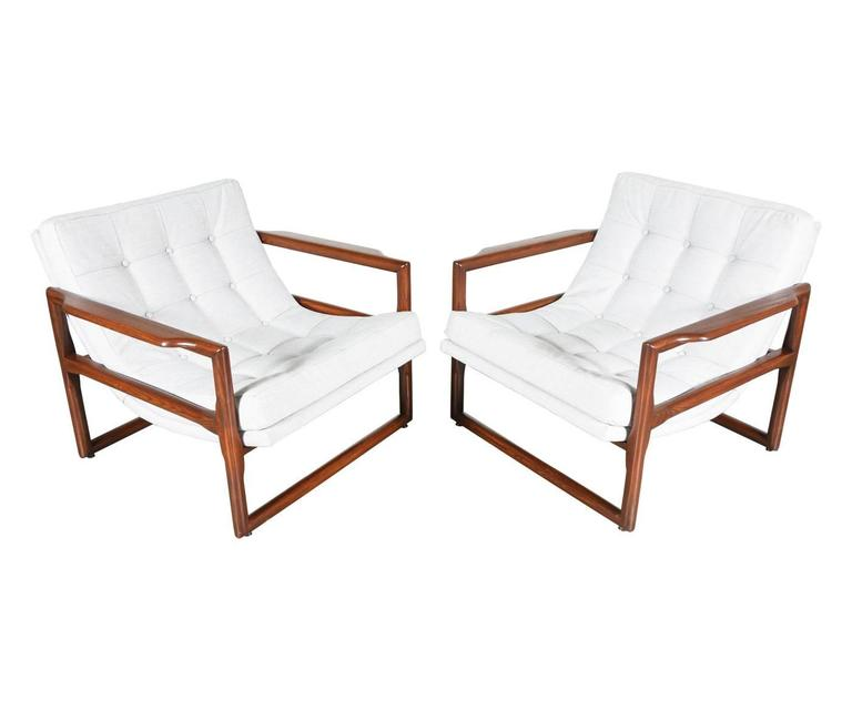 Mid Century Button Tufted Scoop Lounge Chairs For Sale At
