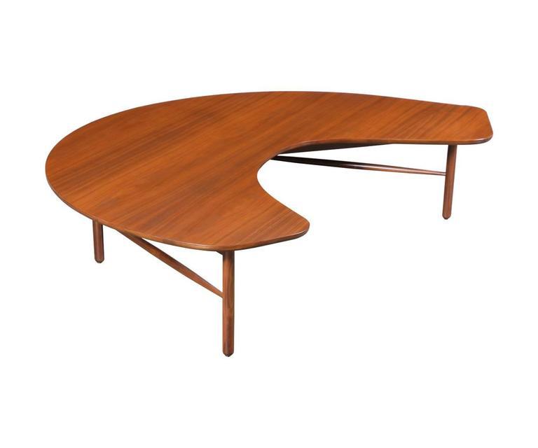 60 Mid Century Modern Vintage Half Moon Coffee Table