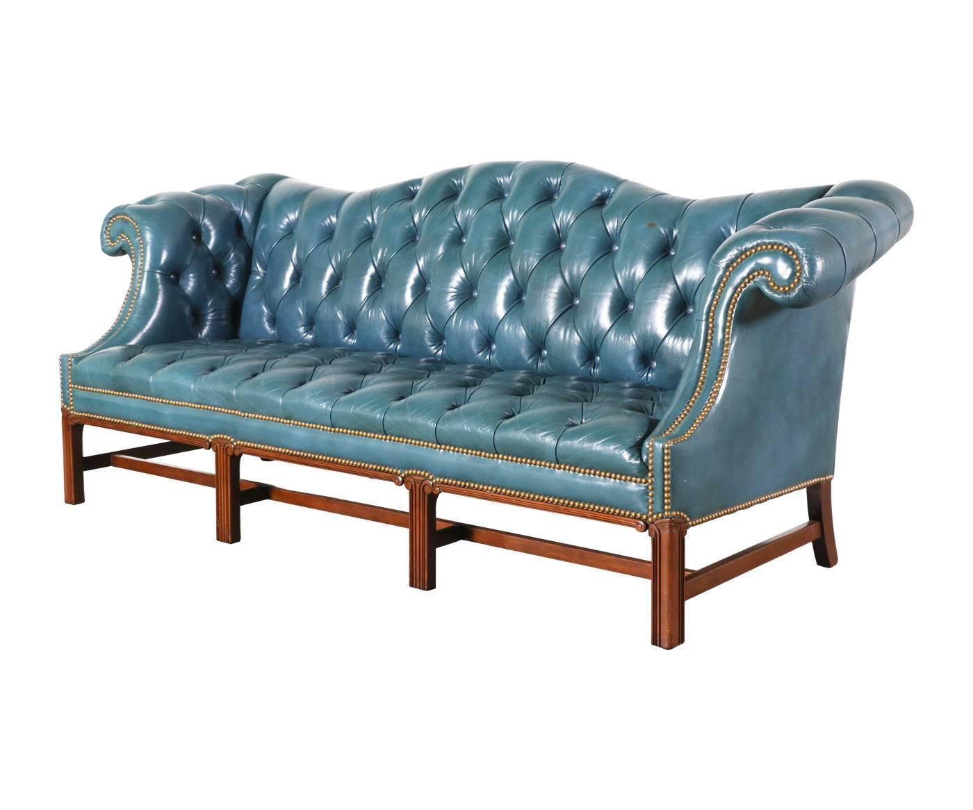vintage leather teal blue chesterfield sofa for sale at 1stdibs