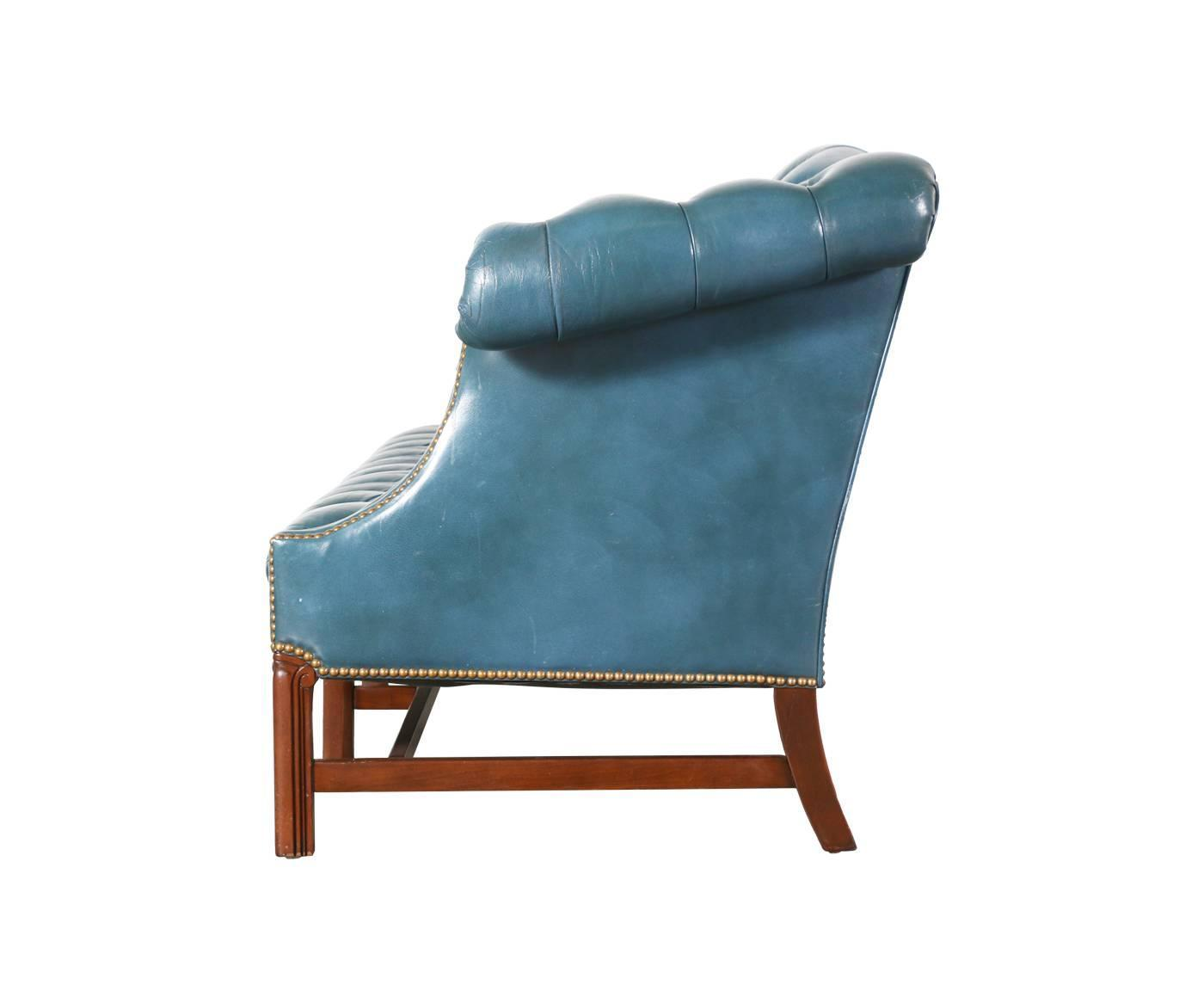 Vintage english leather teal blue chesterfield sofa for for Teal chairs for sale
