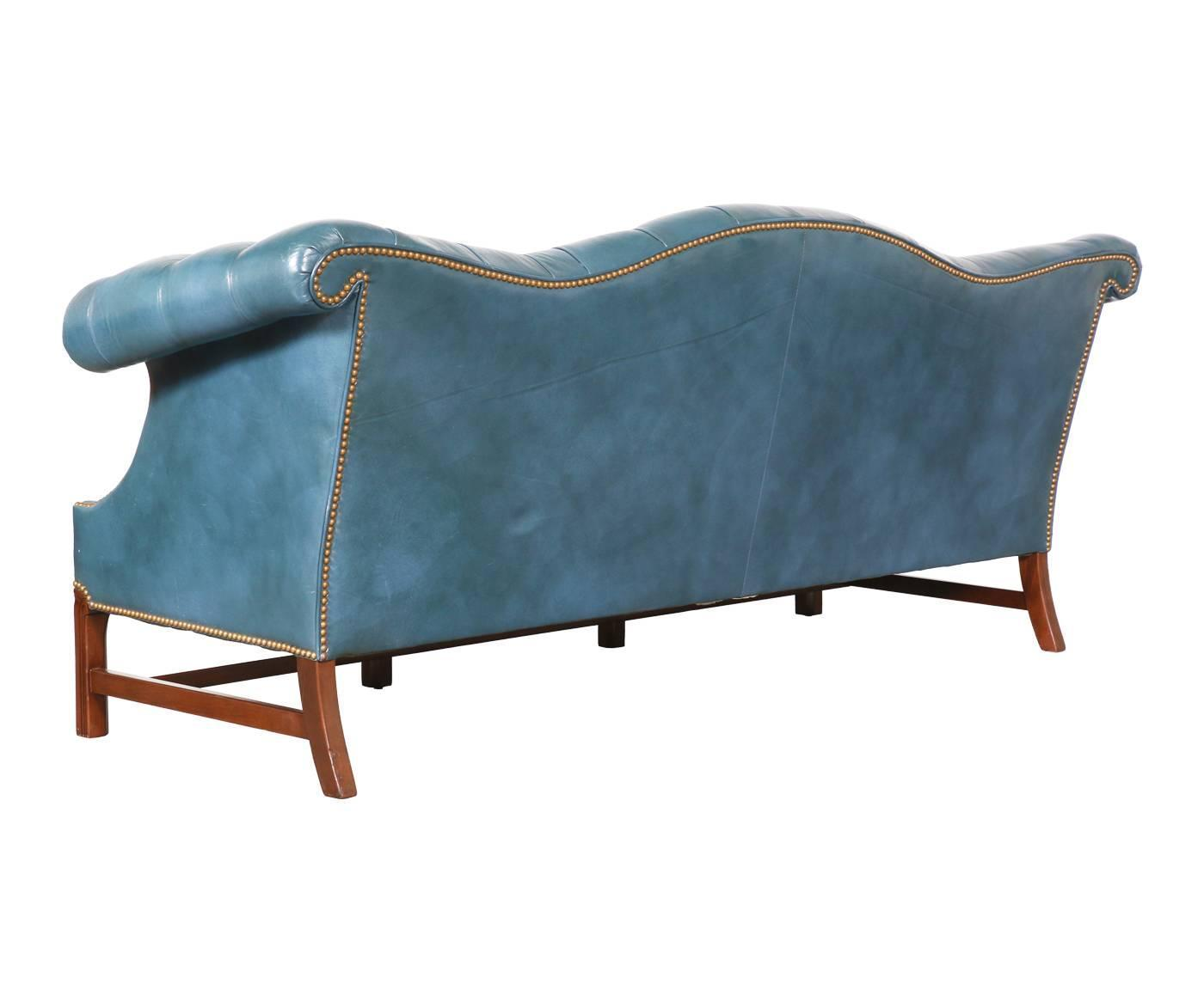 Vintage english leather teal blue chesterfield sofa for for Teal leather sofa