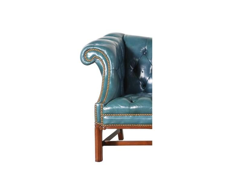Vintage English Leather Teal Blue Chesterfield Sofa For