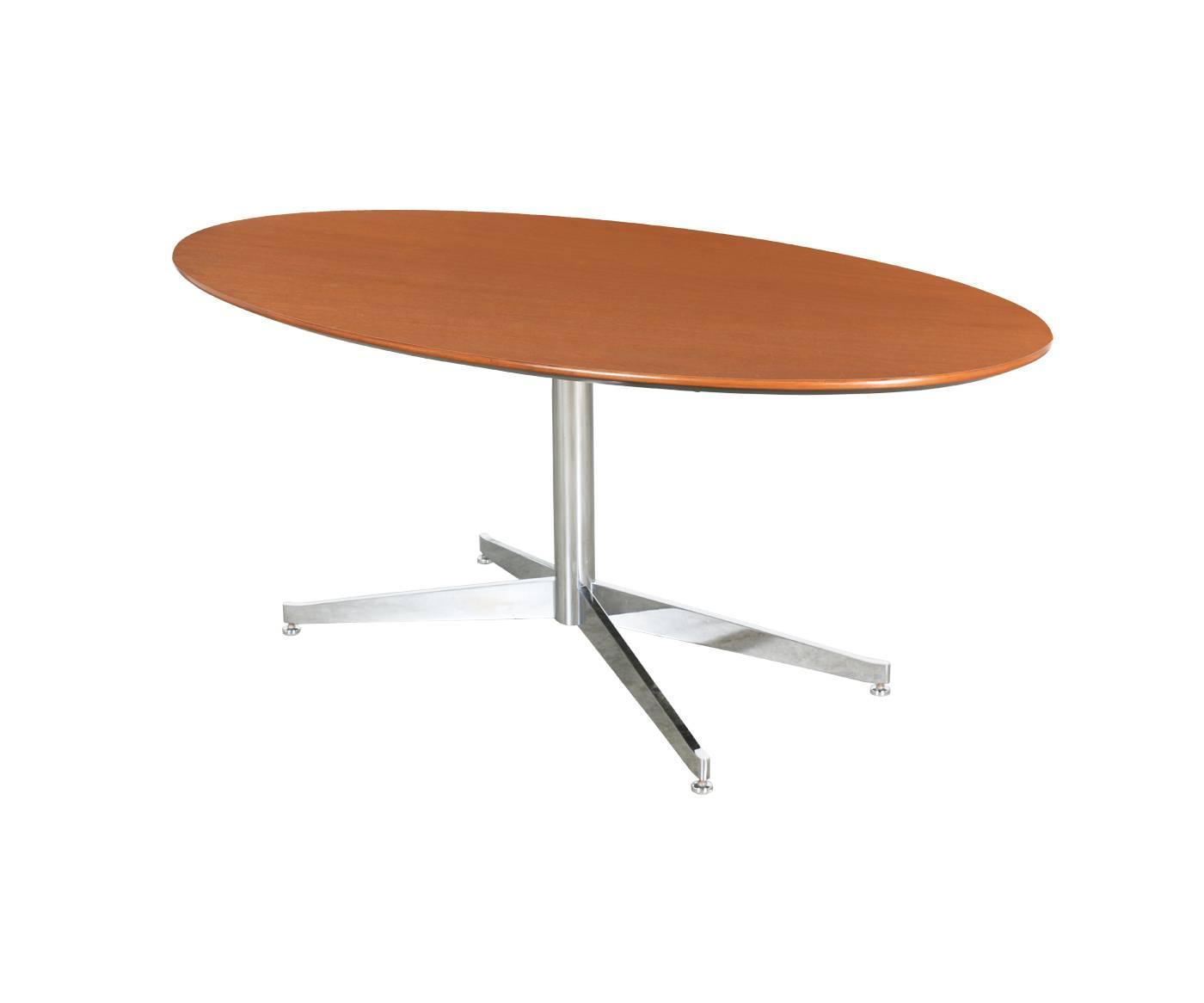 Knoll Oval Walnut Dining Table With Chrome Base For Sale At 1stdibs