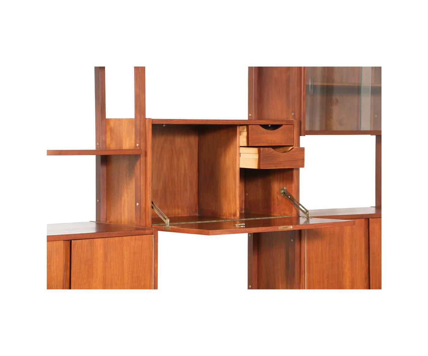 mid century modern walnut three bay free standing storage. Black Bedroom Furniture Sets. Home Design Ideas