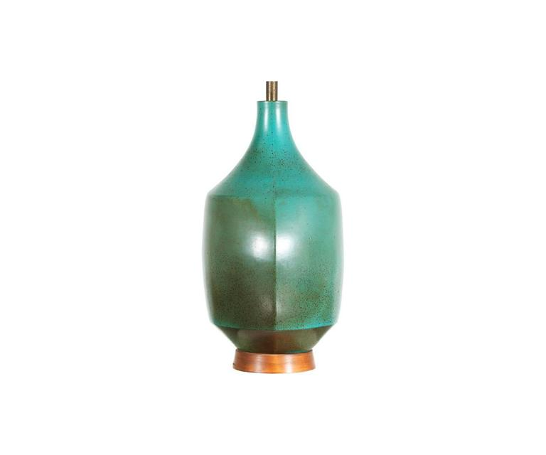 Mid Century Teal Ceramic Table Lamp By David Cressey For
