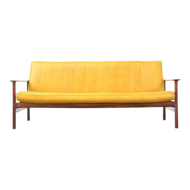 Norwegian Sven Ivar Dysthe Rosewood and Leather Sofa for Dokka Mobler For Sale