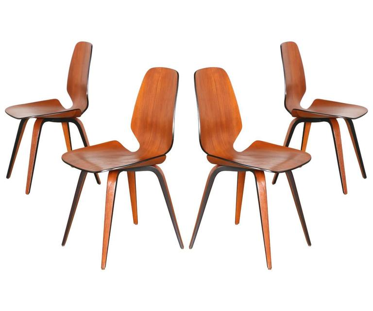 norman cherner molded teak plywood dining chairs for plycraft 2