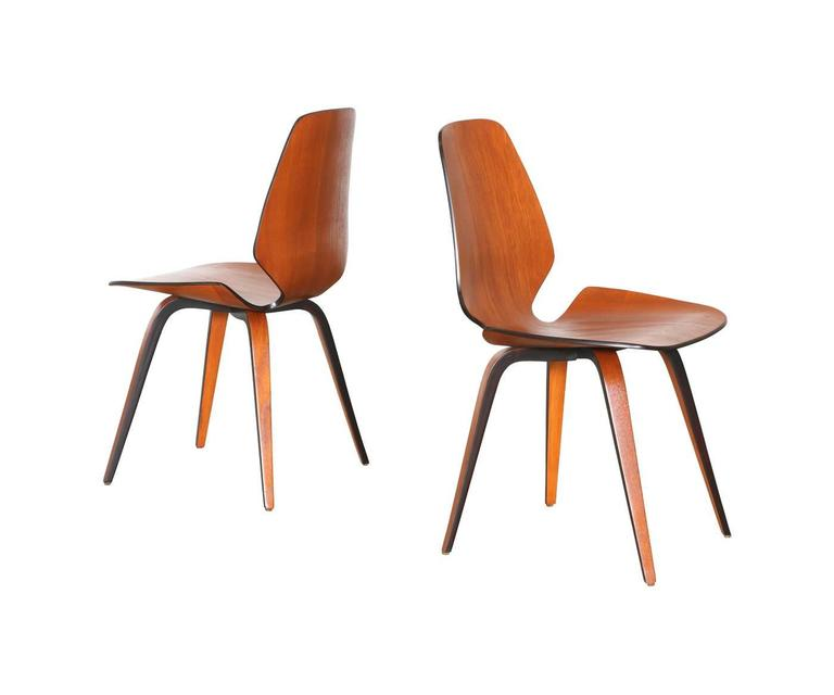 Norman Cherner Molded Teak Plywood Dining Chairs for Plycraft 3