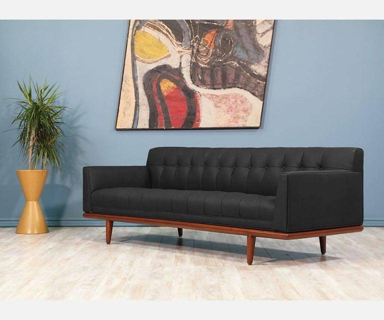 Black Mid Century Modern Sofas: Mid-Century Tufted Black Leather Sofa At 1stdibs