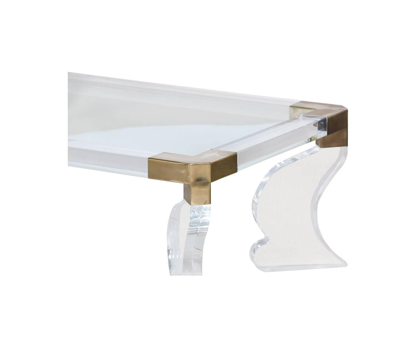 Vintage Lucite And Brass Accent Coffee Table With Glass Top For Sale