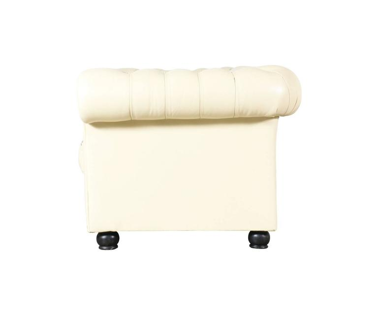 Vintage Beige Leather Chesterfield Sofa 3