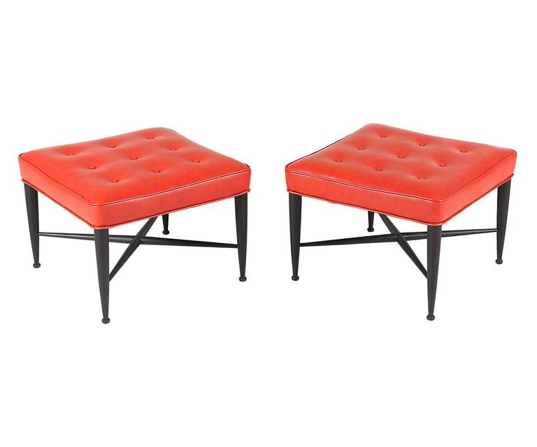 """Edward J. Wormley """"Thiebes"""" Red Leather Stools for Dunbar 5"""