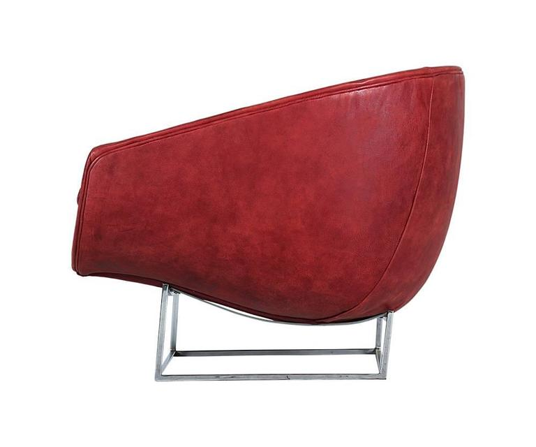 Milo Baughman Leather and Chrome Tub Chair for Thayer Coggin 3