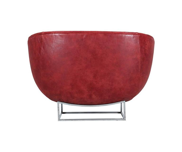 Milo Baughman Leather and Chrome Tub Chair for Thayer Coggin 4
